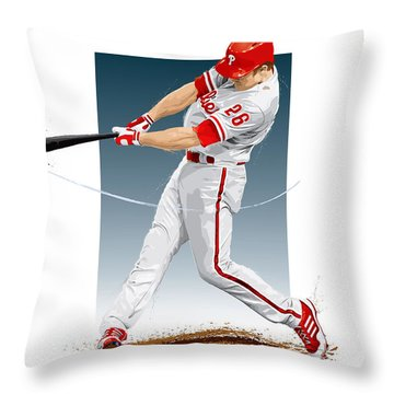 Chase Utley Throw Pillow by Scott Weigner