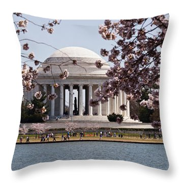 Cherry Blossom Trees In The Tidal Basin Throw Pillow by Panoramic Images
