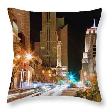 Chicago Michigan Avenue Light Streak Throw Pillow by Christopher Arndt