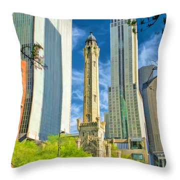 Chicago Water Tower Shopping Throw Pillow by Christopher Arndt