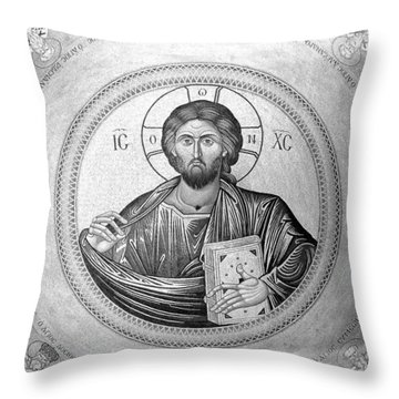Christ Pantocrator In Black And White -- Church Of The Holy Sepulchre Throw Pillow by Stephen Stookey