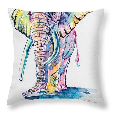 Colorful Elephant Throw Pillow by Kovacs Anna Brigitta
