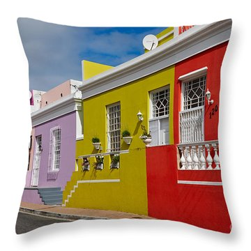 colourful buildings in Bo-Kaap Throw Pillow by Juergen Ritterbach
