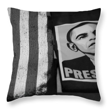 Commercialization Of The President Of The United States Of America In Black And White  Throw Pillow by Rob Hans