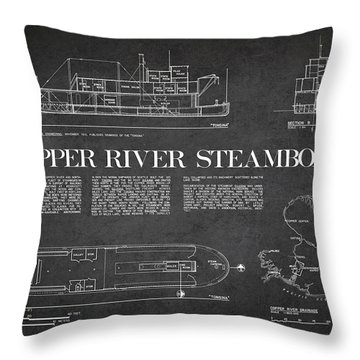 Copper River Steamboats Blueprint Throw Pillow by Aged Pixel