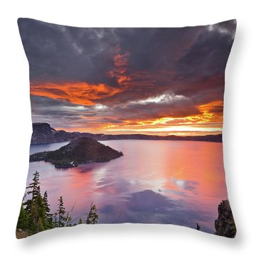 Crater Lake Dawn Throw Pillow by Greg Nyquist