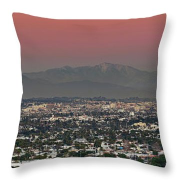 Elevated View Of Buildings In City Throw Pillow by Panoramic Images