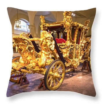 Gold State Coach Queen Elizabeth II Throw Pillow by David French
