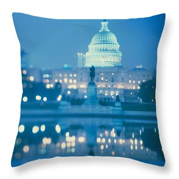Government Building Lit Up At Night Throw Pillow by Panoramic Images