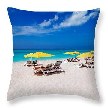 Grace Bay Beach Throw Pillow by Jo Ann Snover