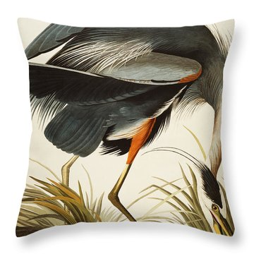 Great Blue Heron Throw Pillow by John James Audubon
