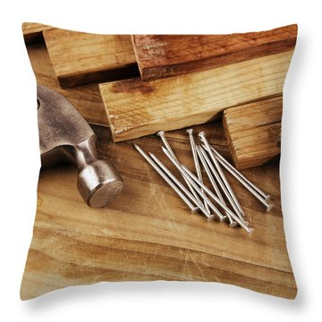 Hammer And Nails  Throw Pillow by Les Cunliffe