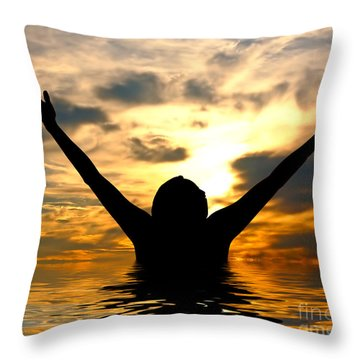 I Love The World Throw Pillow by Michal Bednarek