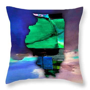 Illinois Map Watercolor Throw Pillow by Marvin Blaine