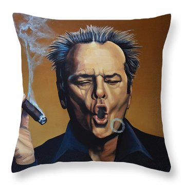 Jack Nicholson Painting Throw Pillow by Paul Meijering