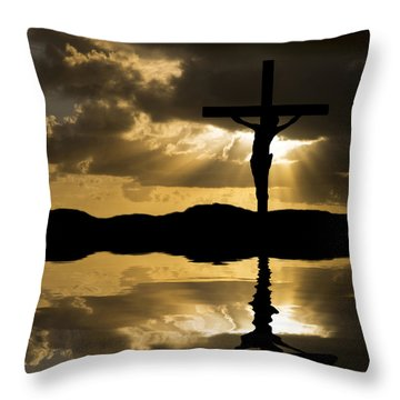 Jesus Christ Crucifixion On Good Friday Silhouette Reflected In  Throw Pillow by Matthew Gibson