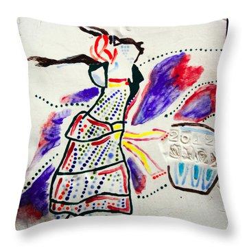 Kiganda Dance - Uganda Throw Pillow by Gloria Ssali