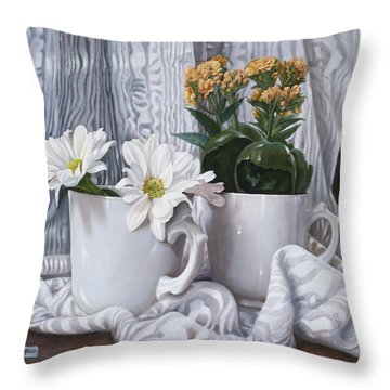 Le Gerbere Throw Pillow by Danka Weitzen