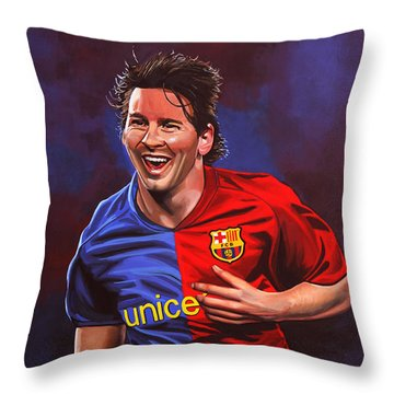 Lionel Messi  Throw Pillow by Paul Meijering