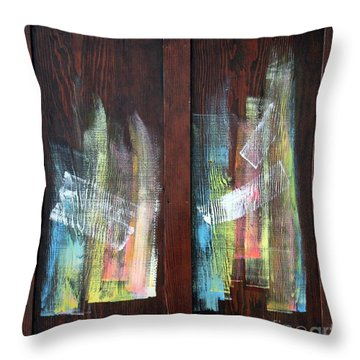 Log Fire Cabinet Door Throw Pillow by Asha Carolyn Young