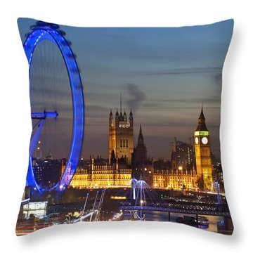 London Night Skyline Throw Pillow by Matthew Gibson