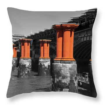 London Thames Bridges Throw Pillow by David French