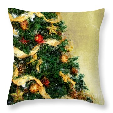 Merry Xmas Throw Pillow by Angela Doelling AD DESIGN Photo and PhotoArt