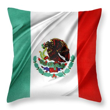 Mexican Flag Throw Pillow by Les Cunliffe