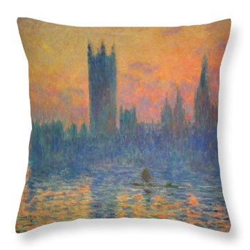 Monet's The Houses Of Parliament At Sunset Throw Pillow by Cora Wandel