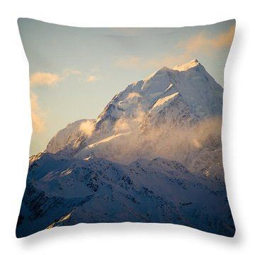 Mount Cook New Zeland Throw Pillow by Tim Hester