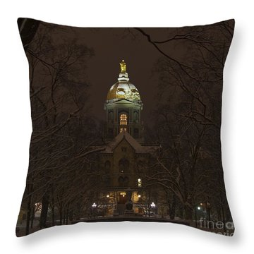 Notre Dame Golden Dome Snow Throw Pillow by John Stephens
