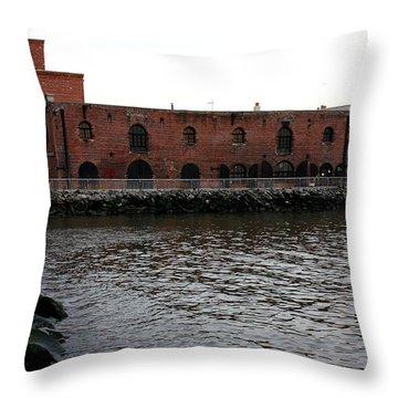 Old Brooklyn Pier Warehouse Throw Pillow by Dora Sofia Caputo Photographic Art and Design