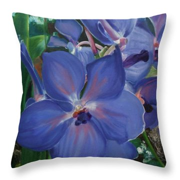 Orchids Throw Pillow by Donna Tuten
