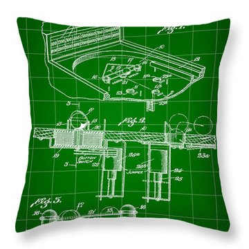 Pinball Machine Patent 1939 - Green Throw Pillow by Stephen Younts
