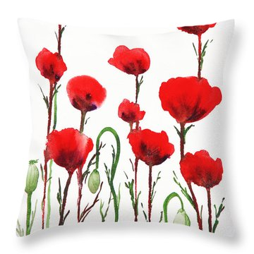 Red Poppies Throw Pillow by Irina Sztukowski