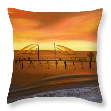 Redondo Beach Pier At Sunset Throw Pillow by Bev Conover