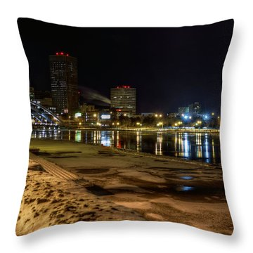Rochester At Night Throw Pillow by Tim Buisman