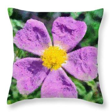 Rockrose Wild Flower Throw Pillow by George Atsametakis
