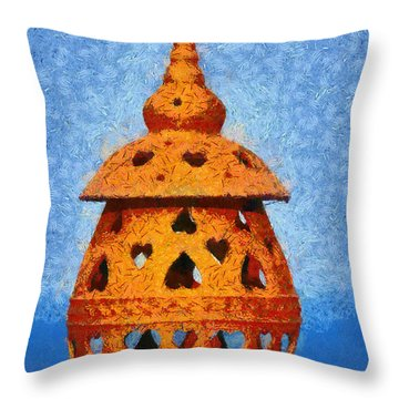 Roof Pottery In Sifnos Island Throw Pillow by George Atsametakis