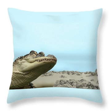 See You Later Alligator Throw Pillow by Ellen Henneke