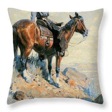 Sentinel Of The Plains Throw Pillow by William Herbert Dunton