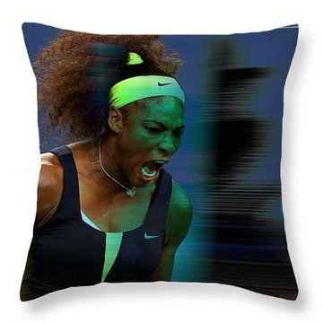 Serena Williams Throw Pillow by Marvin Blaine