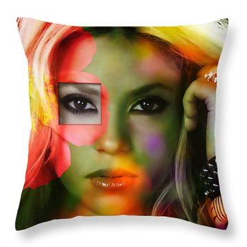 Shakira Throw Pillow by Marvin Blaine