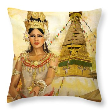 South East Asian Art Throw Pillow by Corporate Art Task Force