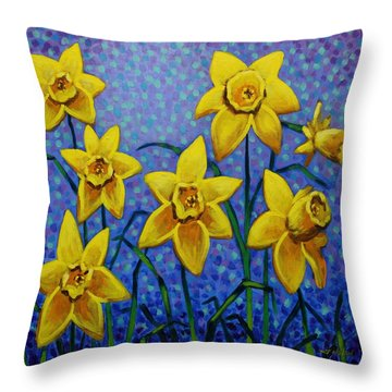 Spring Daffodils Throw Pillow by John  Nolan