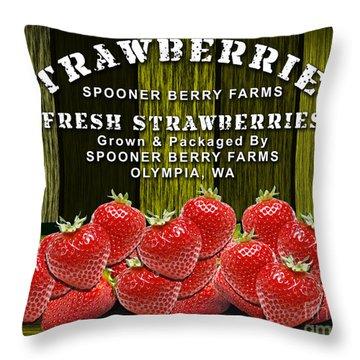 Strawberry Farm Throw Pillow by Marvin Blaine