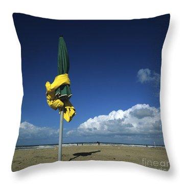Sunshades On The Beach. Deauville. Normandy. France. Europe Throw Pillow by Bernard Jaubert
