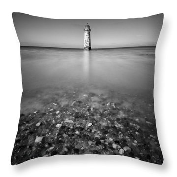 Talacre Lighthouse Throw Pillow by Dave Bowman