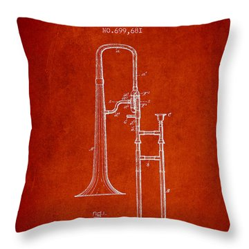 Trombone Patent From 1902 - Red Throw Pillow by Aged Pixel