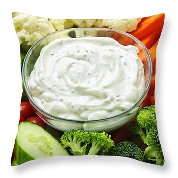 Vegetables And Dip Throw Pillow by Elena Elisseeva